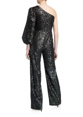 Saloni Lily One-Shoulder Sequined Jumpsuit