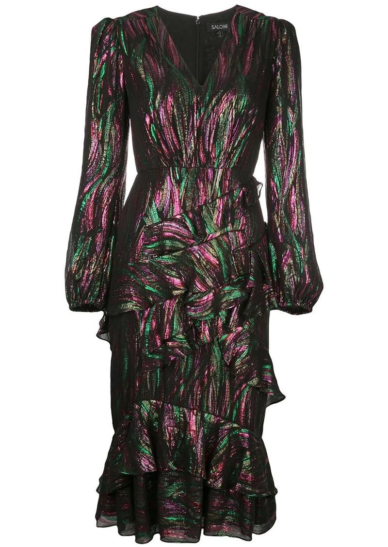 Saloni long-sleeve ruffle dress