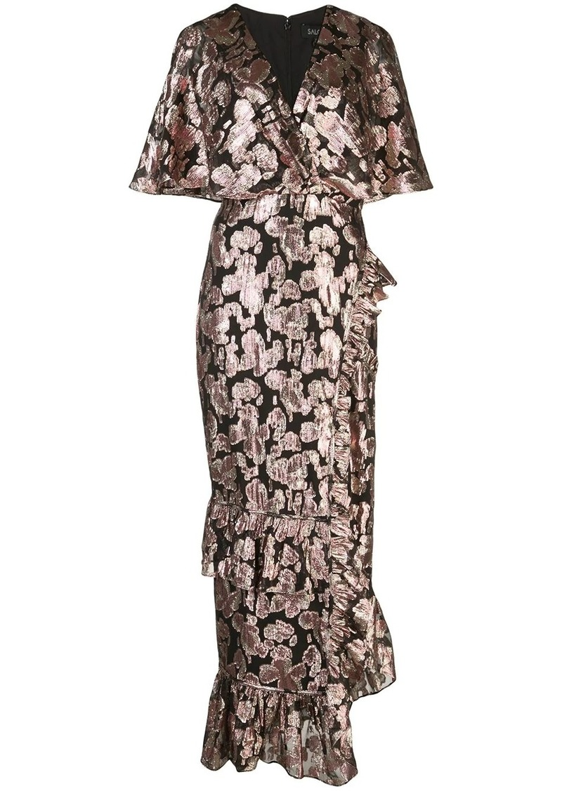 Saloni metallic rose brocade dress