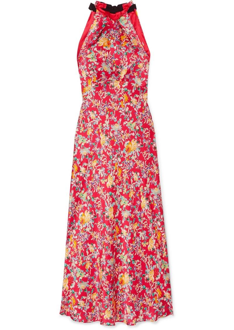 Saloni Michelle Floral-print Silk-satin Halterneck Midi Dress