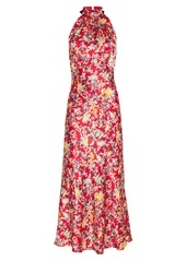 Saloni Michelle Floral Satin Halter Dress
