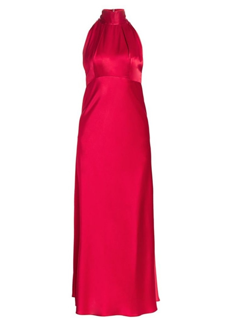 Saloni Michelle Silk Halter Midi Dress