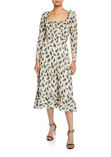 Saloni Misha Printed Long-Sleeve Dress