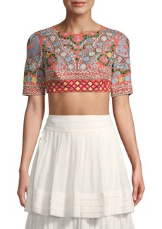Saloni Mixed-Print Silk Cropped Top