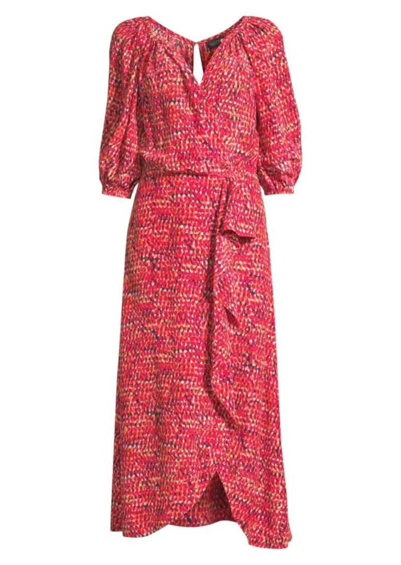 Saloni Olivia Draped Silk Dress