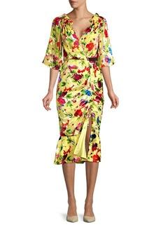 Saloni Olivia Floral Midi Wrap Dress