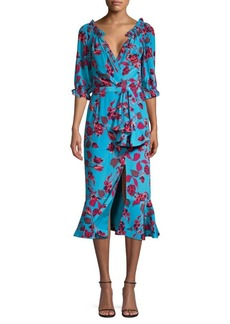 Saloni Olivia Floral Midi Wrap Dress