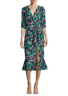 Saloni Olivia Printed Silk Midi Dress
