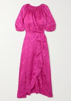 Saloni Olivia Ruffled Silk-satin Jacquard Midi Dress