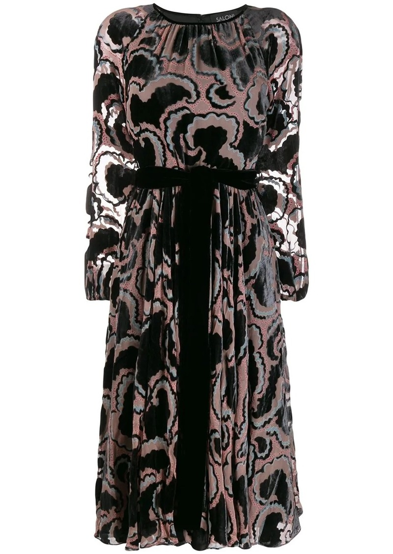 Saloni printed tie-waist dress