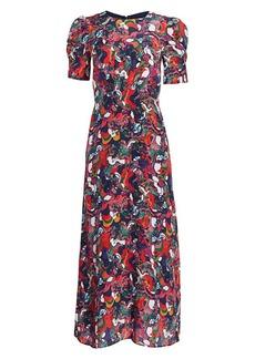 Saloni Raquel Space Dot Silk Dress