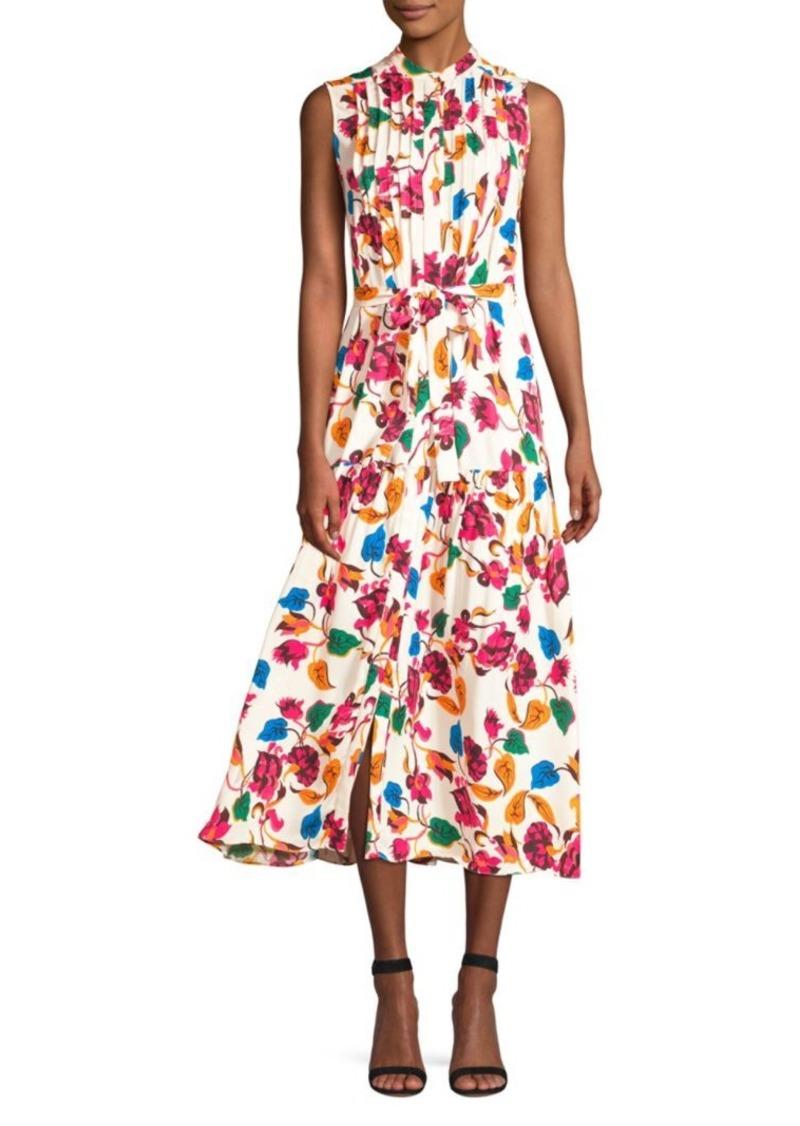 Saloni Remi Sleeveless Floral Belted Dress