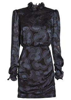 Saloni Rina Jacquard Crepe High Neck Dress