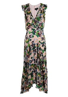 Saloni Rita Ruffled Floral Midi Dress