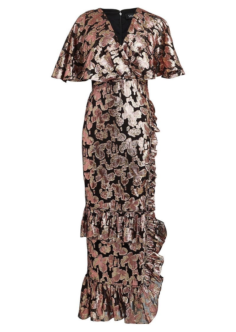 Saloni Rose Lamé Chiffon Dress