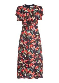 Saloni - Women's Bianca Printed Silk Midi Dress - Floral - Moda Operandi