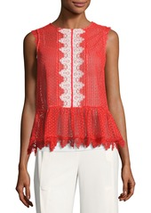 Saloni Adele Sleeveless Lace Peplum Top