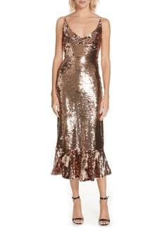 SALONI Aidan Sequin Ruffle Hem Midi Dress