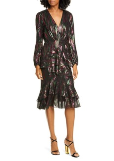 SALONI Alya Metallic Silk Blend Long Sleeve Dress
