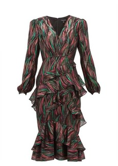 Saloni Alya ruffled metallic-jacquard dress