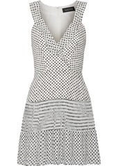 Saloni Amy pleated polka-dot silk-chiffon mini dress