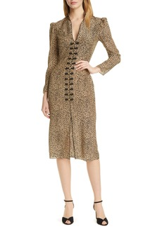 SALONI Andrea Cheetah Print Long Sleeve Silk Dress