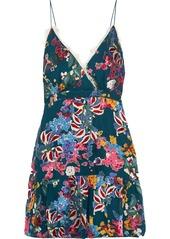 Saloni Ani lace-trimmed floral-print fil coupé chiffon mini dress
