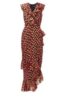 Saloni Anita flower and metallic-jacquard ruffled dress