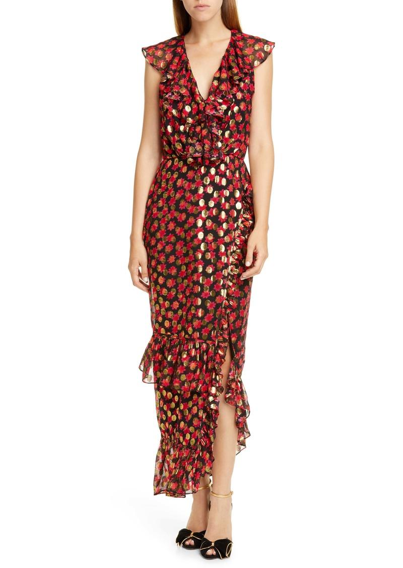 SALONI Anita Ruffle Trim Burnout Dress