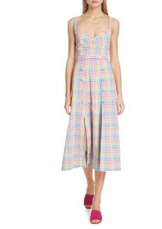 SALONI Anya Gingham Seersucker Midi Dress