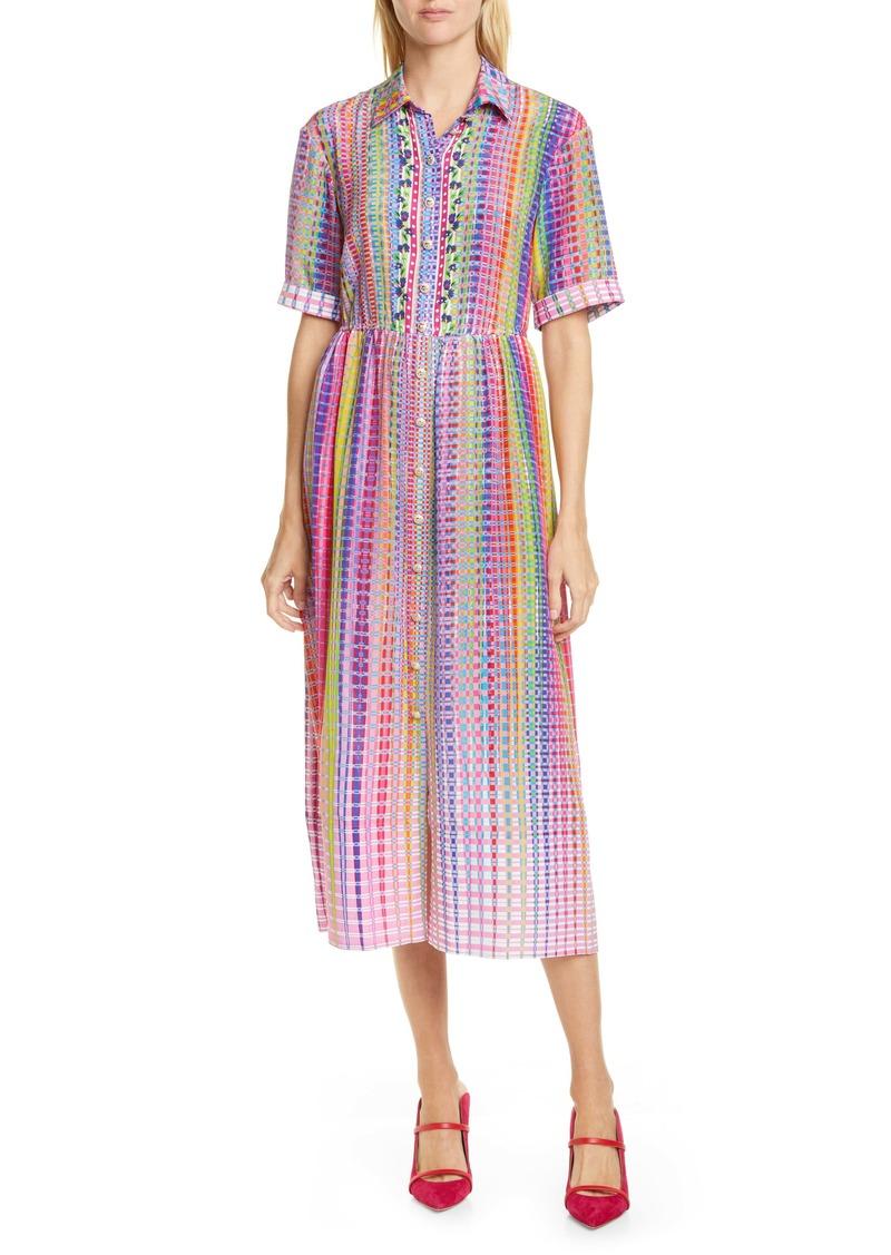 SALONI Ash Plaid Silk Midi Shirtdress
