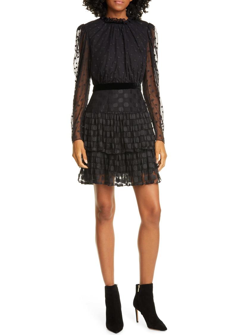SALONI Ava Jacquard Dot Long Sleeve Minidress