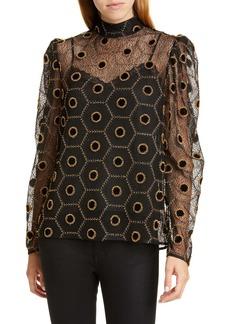 SALONI Bead Embellished Honeycomb Lace Top