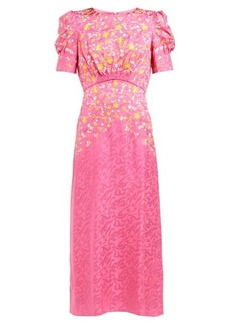 Saloni Bianca floral-embroidered silk dress