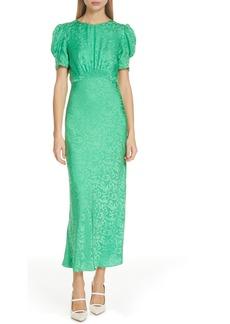 SALONI Bianca Puff Sleeve Silk Midi Dress