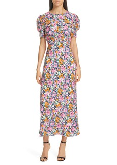 SALONI Bianca Puff Sleeve Silk Midi Dress