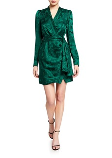 Saloni Bibi Long-Sleeve Mini Wrap Dress