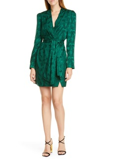 SALONI Bibi Silk Jacquard Long Sleeve Minidress