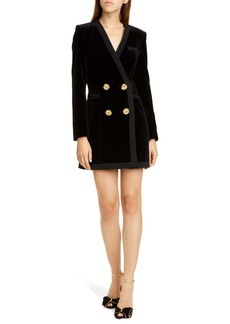 SALONI Bree Velvet Long Sleeve Blazer Dress