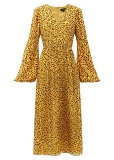 Saloni Camille B leopard-camo print silk-blend dress