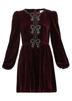 Saloni Camille crystal-bow velvet mini dress