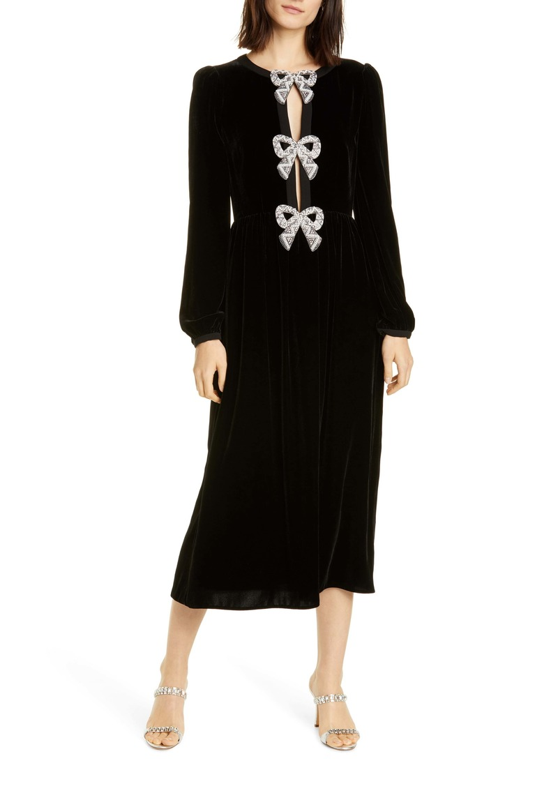 SALONI Camille Embellished Bow Long Sleeve Velvet Midi Dress