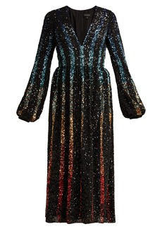 Saloni Camille gradient sequinned dress