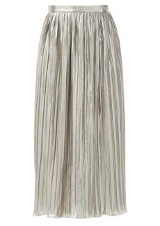 Saloni Camille high-rise lurex-plissé midi skirt