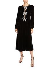 Saloni Camille Long-Sleeve Velvet Dress w/ Crystal Bows