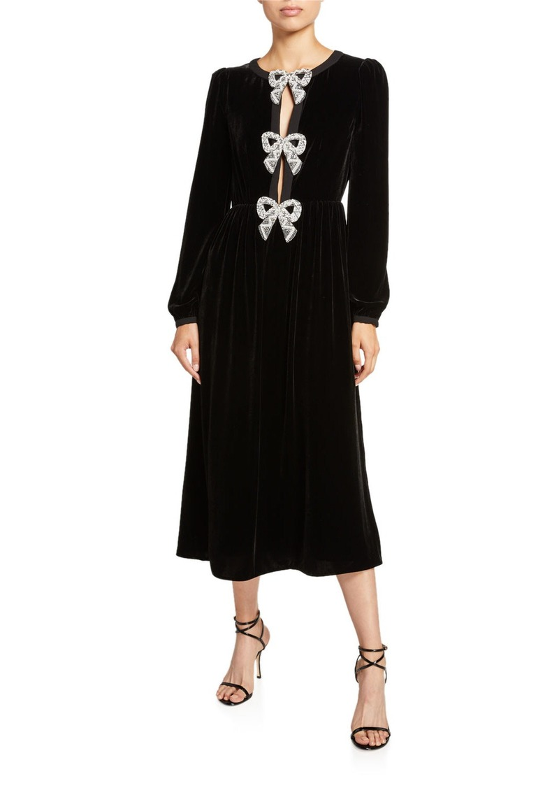 Saloni Camille Long-Sleeve Velvet Dress w/ Crystal Bows