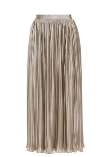 Saloni Camille metallic-poplin midi skirt