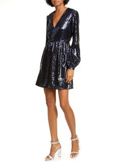 SALONI Camille Sequin Long Sleeve Minidress