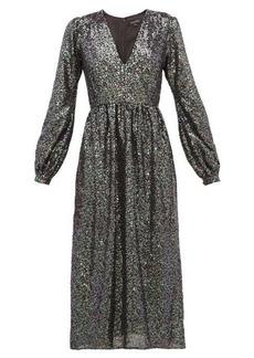 Saloni Camille sequinned midi dress