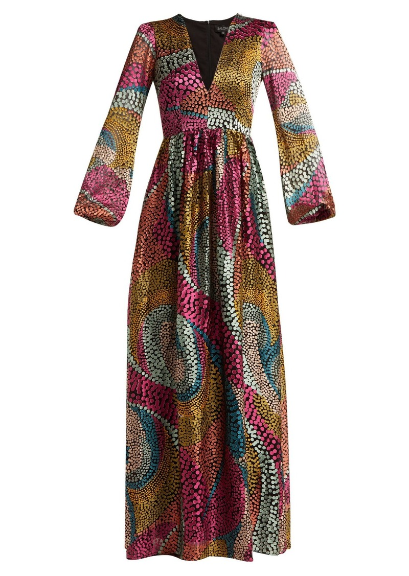Saloni Camille spotted devoré-satin dress
